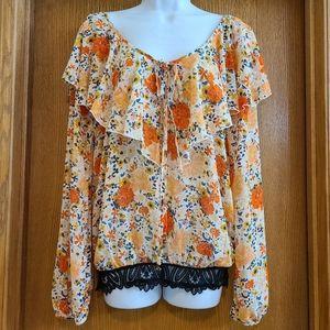 Intimately Free People Orange Floral Ruffle Shirt